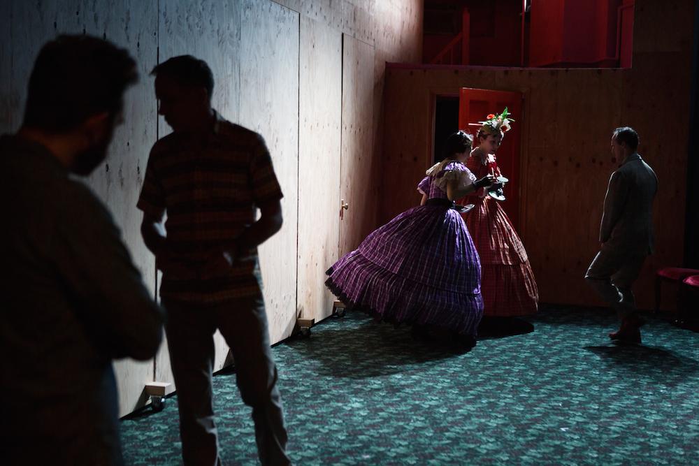"Conrad Schott (shadow), Bruce McKenzie (shadow), Sue Jean Kim, Nina Hellman and Gibson Frazier in ""10 out of 12."" Photo Credit: Julieta Cervantes."