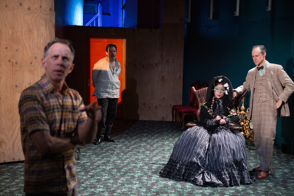 """McKenzie, Thomas Jay Ryan, Gibson Frazier and Nina Hellman in """"10 out of 12."""" Photo Credit: Julieta Cervantes."""