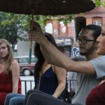 "An audience member takes over for an actor in ""Broken City: Lower East Side."" Photo Credit: Ana Margineanu."