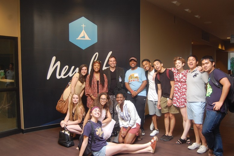 American Theater Company's Youth Ensemble with Pastor Joe Kirkendall at New Life Fellowship Association. (top, l-r) Leah Schiffman, Lawren Carter, Pastor Joe Kirkendall, Latrel Crawford, Leojae Bleu Steward, Matt Gomez Hidaka, Olivia Shine, Michael Sandoval & Max Dizon. (bottom, l-r) Madison Pulman, Jenna Makkawy, Danielle Jean-Baptiste and Ireon Roach. Photo Credit: Lyla Whedbee
