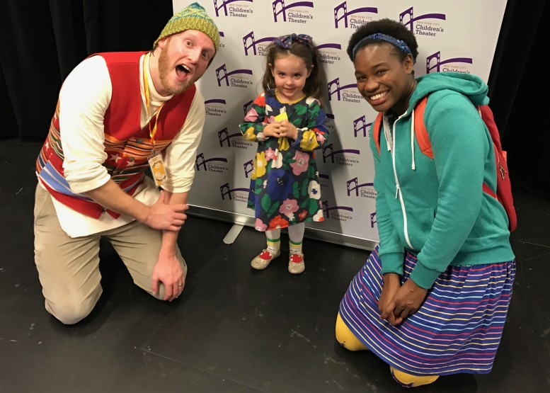 """Please Bring Balloon"" actors Brandon Schraml and Claire Simba pose for a post-show picture with Winifred Carter. Photo Credit: James Carter"