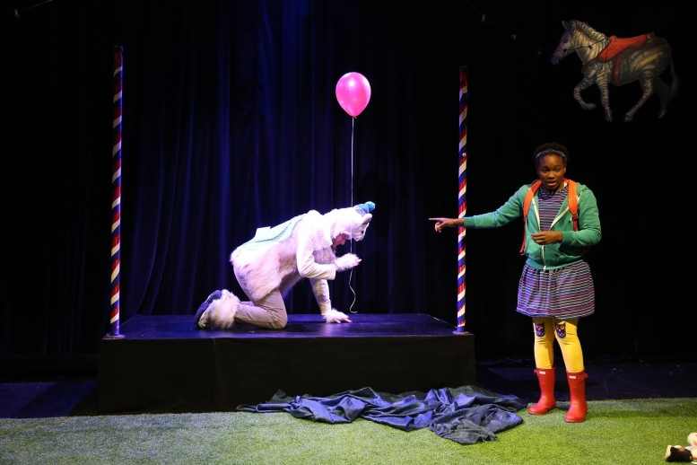 "A scene from ""Please Bring Balloons"" with Brandon Schraml and Claire Simba. Photo Credit: Carol Rosegg"