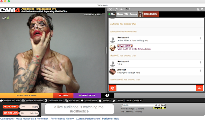 "A screen cap of John Moletress' ""Trigger Warnings and Various Attempts"" in Cam4."