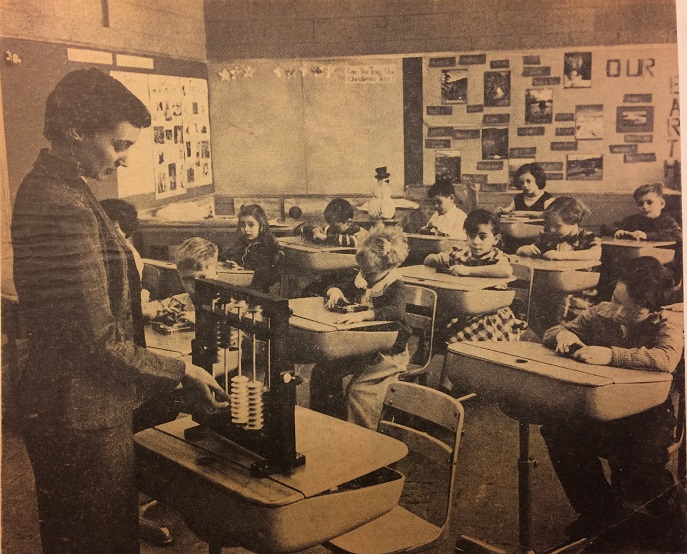 Teacher in front of a class from 1955