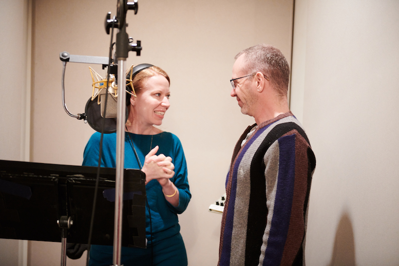 Emily Ackerman and Steve Cosson in the recording studio for <em>This Beautiful City</em>. Photo credit: Jenny Anderson