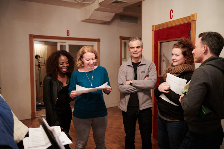 Marsha Stephanie Blake, Emily Ackerman, Stephen Plunkett, Alison Weller, and Brad Heberlee around the piano, rehearsing a song from <em>This Beautiful City</em>. Photo credit: Jenny Anderson