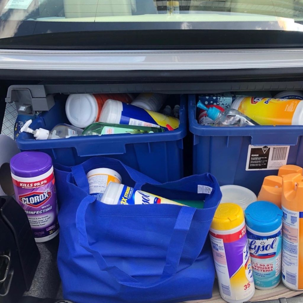 Emily's haul of scavenged cleaning supplies. Photo courtesy of Emily Ackerman.