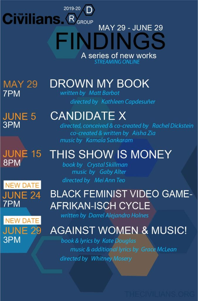 The FINDINGS Series performance dates and times.